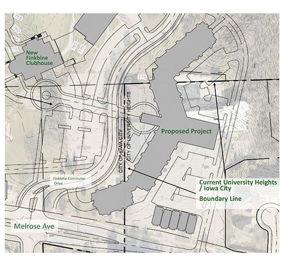 Map showing location of proposed development project in relationship to the new Finkbine Clubhouse o