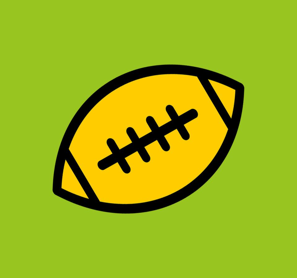 black and gold football graphic on green background