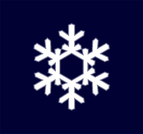 White snowflake on deep blue background.
